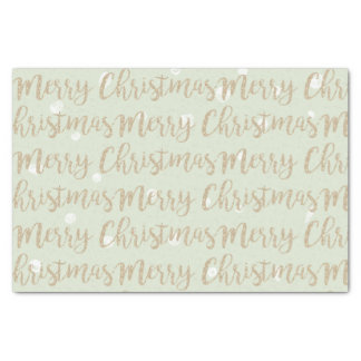 Merry Christmas Faux Gold Script Typography Green Tissue Paper