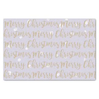 Merry Christmas Faux Gold Script Typography Lilac Tissue Paper
