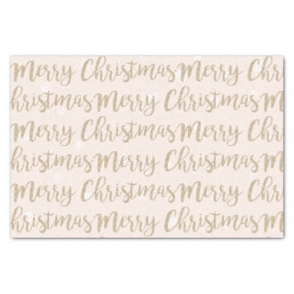 Merry Christmas Faux Gold Script Typography Pink Tissue Paper