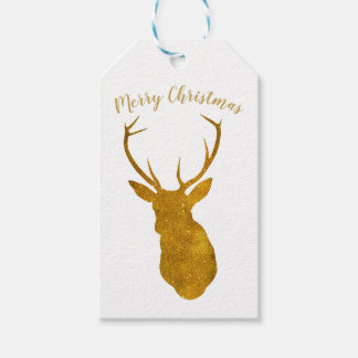 Merry Christmas faux gold stag gift tags