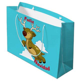 Merry Christmas - Feliz Navidad Flying Reindeer Large Gift Bag