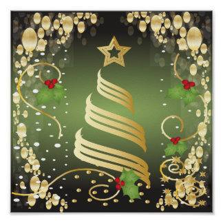 Merry Christmas Festive Green and Gold Poster