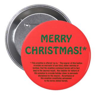 MERRY CHRISTMAS fine print Pinback Buttons