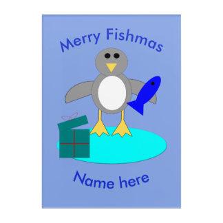 Merry Christmas Fishing Penguin Acrylic Wall Art