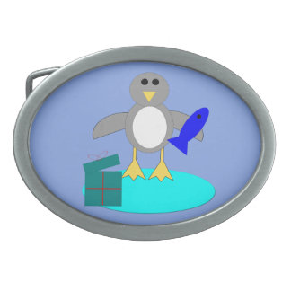 Merry Christmas Fishing Penguin Belt Buckle
