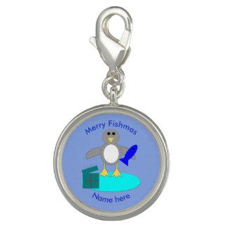 Merry Christmas Fishing Penguin Charm