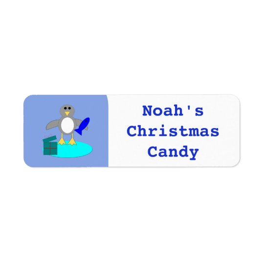 Merry Christmas Fishing Penguin Custom Food Labels