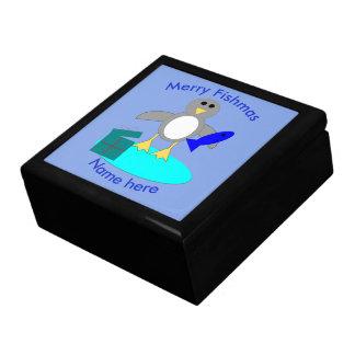 Merry Christmas Fishing Penguin Custom Gift Box