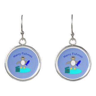 Merry Christmas Fishing Penguin Drop Earrings