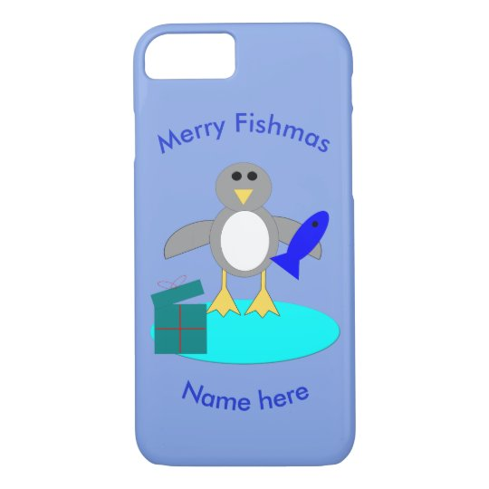 Merry Christmas Fishing Penguin iPhone Case