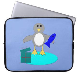 Merry Christmas Fishing Penguin Laptop Bag