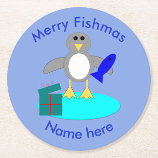 Merry Christmas Fishing Penguin Paper Coasters