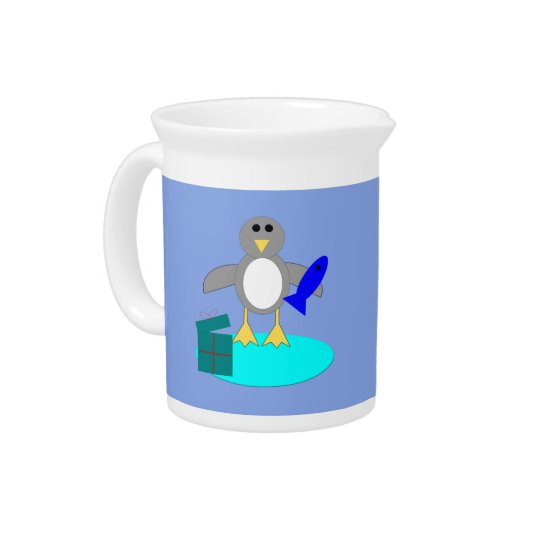 Merry Christmas Fishing Penguin Pitcher