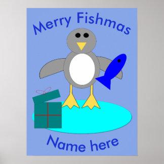 Merry Christmas Fishing Penguin Poster