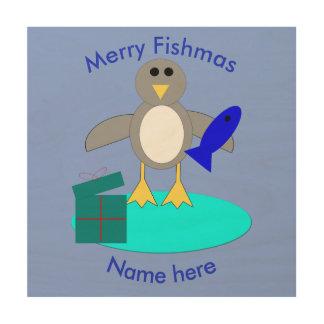 Merry Christmas Fishing Penguin Wood Canvas