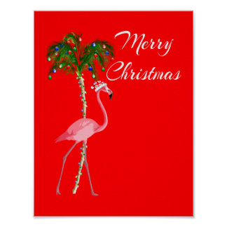 Merry Christmas Flamingo Poster