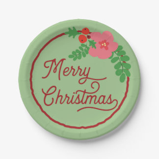 Merry Christmas Flora Paper Plates