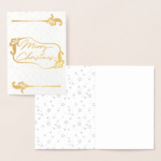 merry christmas floral Golden Foil Card