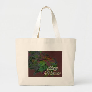 Merry Christmas Floral Poinsettia Series Tote Bags