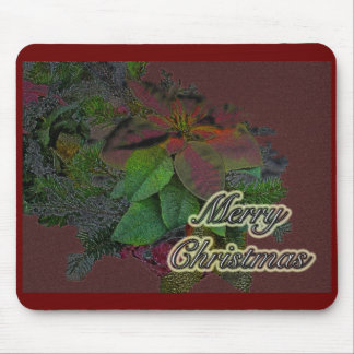 Merry Christmas Floral Poinsettia Series Mouse Pad