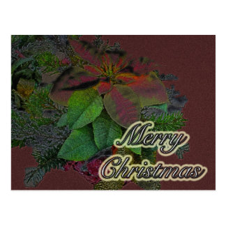 Merry Christmas Floral Poinsettia Series Postcards
