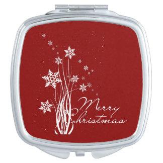Merry Christmas floral snowflakes illustration Travel Mirrors
