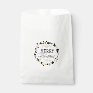 Merry Christmas Floral Wreath Gold Holiday Favor Favour Bags