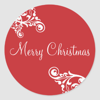 Merry Christmas Flourish Envelope Sticker Seal