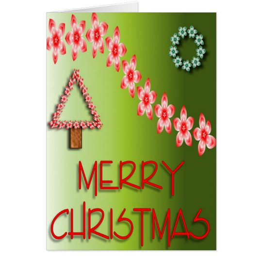 Merry Christmas Flower Tree Card