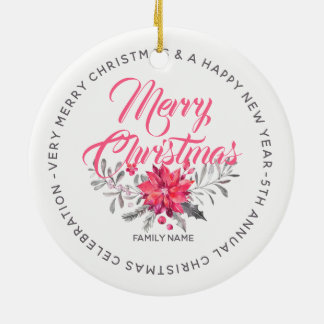 Merry Christmas Flowers Bouquet & Typography Christmas Ornament