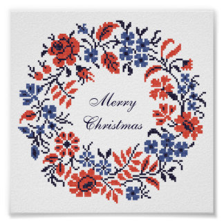 Merry Christmas Flowers cycle Poster