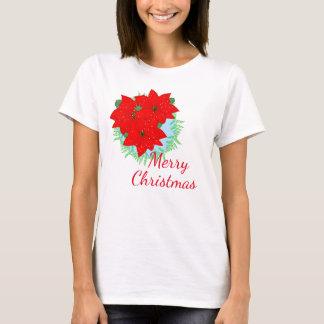 Merry Christmas Flowers Red Poinsettia Festive T-Shirt