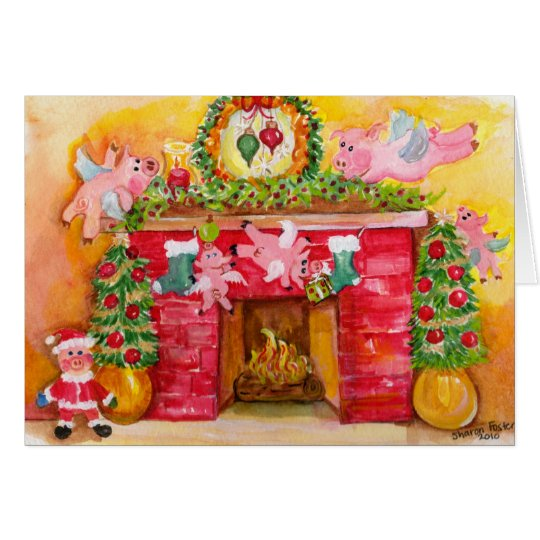Merry Christmas Flying Pigs Decorate Hearth & Home