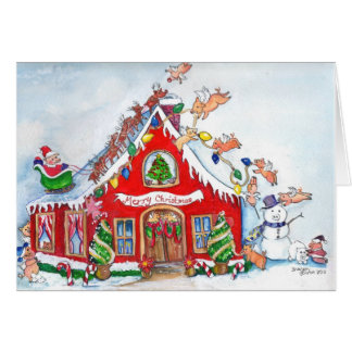 Merry Christmas Flying Pigs Decorate  the Home Card