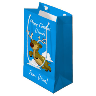 Merry Christmas Flying Reindeer Cute Small Gift Bag