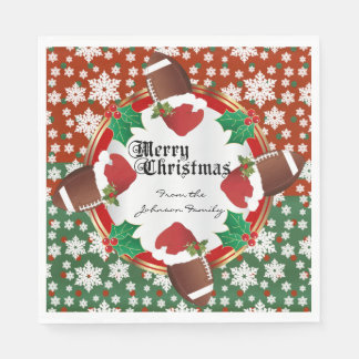 Merry Christmas Football Lovers Paper Napkin