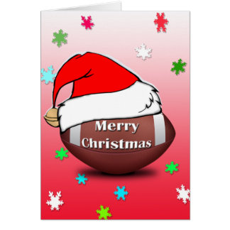 Merry Christmas Football With Santa Hat Card