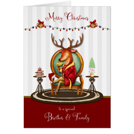 Merry Christmas for Brother and Family Reindeer Card