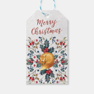 Merry Christmas fox gift tags add your message