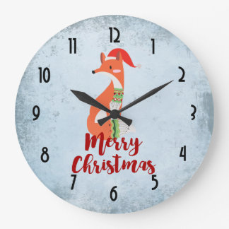 Merry Christmas Fox in Santa Hat Large Clock