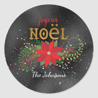 Merry Christmas French Black Glass Glitter Classic Round Sticker