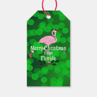 Merry Christmas from Florida, Santa Flamingo Gift Tags