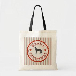 Merry Christmas From Greyhound Racing Dog Budget Tote Bag