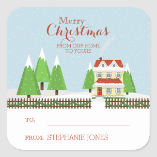 Merry Christmas From Our Home to Yours Square Sticker