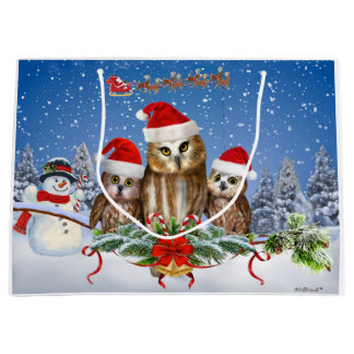 MERRY CHRISTMAS FROM OWL OF US! LARGE GIFT BAG