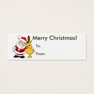 Merry Christmas From Santa Tag Mini Business Card