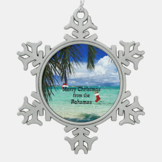 Merry Christmas from the Bahamas Pewter Snowflake Decoration