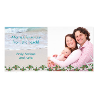 Merry Christmas From the Beach Family Personalised Photo Card