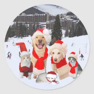 Merry Christmas from the gang! Round Sticker