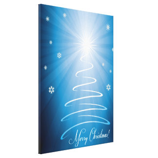Merry Christmas Funky Christmas Tree Stretched Canvas Print